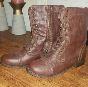 Brown leather tall combat boots